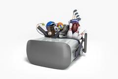 Le concept des jeux de sports dans la réalité virtuelle 3d rendent sur le petit morceau Image libre de droits