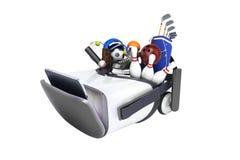 Le concept des jeux de sports dans la réalité virtuelle 3d rendent sur le petit morceau Photographie stock
