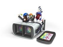 Le concept des jeux de sports dans la réalité virtuelle 3d rendent sur le petit morceau Photos libres de droits