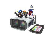 Le concept des jeux de sports dans la réalité virtuelle 3d rendent sur le petit morceau Photo libre de droits