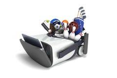 Le concept des jeux de sports dans la réalité virtuelle 3d rendent sur le petit morceau Images stock