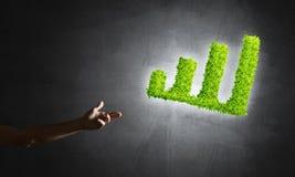 Le concept des opérations bancaires et de l'investissement a présenté avec le graphique vert de planète Photos stock