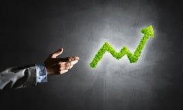 Le concept des opérations bancaires et de l'investissement a présenté avec le graphique vert de planète Image stock