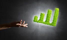 Le concept des opérations bancaires et de l'investissement a présenté avec le graphique vert de planète Photos libres de droits