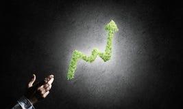 Le concept des opérations bancaires et de l'investissement a présenté avec la planète verte GR Photographie stock libre de droits