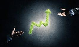 Le concept des opérations bancaires et de l'investissement a présenté avec la planète verte GR Images libres de droits