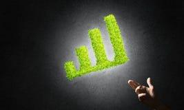 Le concept des opérations bancaires et de l'investissement a présenté avec le graphique vert de planète Photo stock