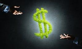 Le concept des opérations bancaires et de l'investissement a présenté par symbole vert du dollar sur le fond concret Image stock