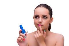 Le concept disponible de manucure de traitement de femme Photo libre de droits