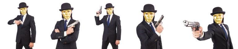 Le concept drôle avec le masque théâtral Images stock