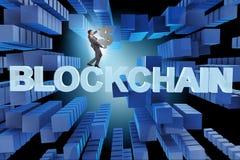 Le concept du blockchain dans des affaires modernes Photo stock