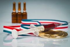 Le concept du dopage et blessure dans le sport Photo stock