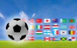 Le concept du football au fond. Photographie stock