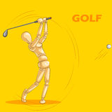 Le concept du golf folâtre avec le mannequin humain en bois Photo stock