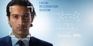 Le concept du logiciel et du matériel de reconnaissance des visages image libre de droits