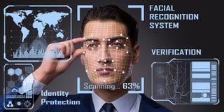 Le concept du logiciel et du matériel de reconnaissance des visages photographie stock