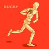 Le concept du rugby folâtre avec le mannequin humain en bois Photographie stock
