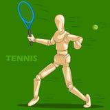 Le concept du tennis folâtre avec le mannequin humain en bois Photo stock