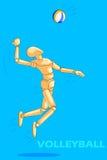 Le concept du volleyball folâtre avec le mannequin humain en bois Images libres de droits