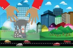 Le concept environnemental, protègent la nature contre la pollution atmosphérique par le verre Image stock