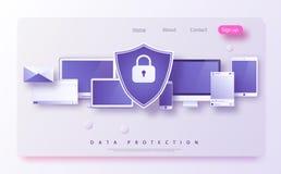 Le concept est protection des données Access, il sécurité Le bouclier sur le bureau d'ordinateur ou l'ordinateur portable protège Illustration Libre de Droits