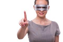 Le concept futuriste avec la femme de cyber de techno d'isolement sur le blanc Photo libre de droits