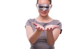 Le concept futuriste avec la femme de cyber de techno d'isolement sur le blanc Photographie stock libre de droits