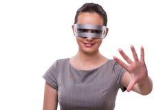 Le concept futuriste avec la femme de cyber de techno d'isolement sur le blanc Photo stock