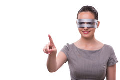 Le concept futuriste avec la femme de cyber de techno d'isolement sur le blanc Photos stock