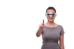 Le concept futuriste avec la femme de cyber de techno d'isolement sur le blanc Images stock