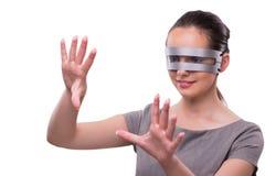 Le concept futuriste avec la femme de cyber de techno d'isolement sur le blanc Image libre de droits
