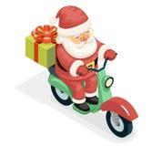 Le concept isométrique d'icône de boîte de Santa Claus Delivery Courier Scooter Symbol du boîte-cadeau 3d a isolé le vecteur plat Photo libre de droits