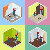 Le concept isométrique de réparation à la maison a placé avec des travailleurs, outils, équipement d'isolement sur le blanc Bâtim illustration libre de droits