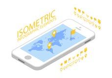Le concept mobile isométrique de navigation de GPS, le Smartphone avec l'application de carte du monde et le marqueur goupillent  illustration de vecteur