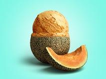 le concept moderne de la boule de crème glacée de melon de la crème glacée de fruit A se trouve dessus Photo libre de droits