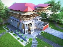 Le concept moderne des travaux de construction la maison est assemblé par p Images stock