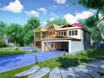 Le concept moderne des travaux de construction la maison est assemblé par p Photographie stock libre de droits