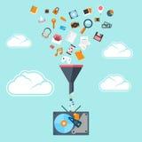Le concept plat de grandes données filtrent et percent un tunnel Photos libres de droits
