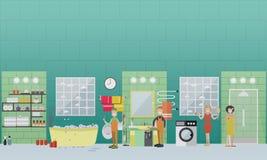 Le concept résidentiel de services de nettoyage de tuyauterie et de drain dirigent l'illustration plate Images stock