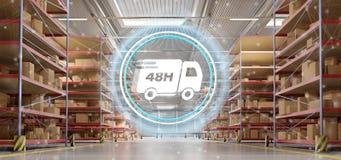 Le concept rapide de système de livraison sur un fond 3d d'entrepôt rendent Photographie stock libre de droits