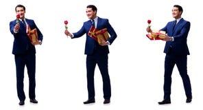 Le concept romantique avec l'homme faisant la proposition de mariage Images stock