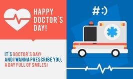 Le concept soigne Day Ambulance Car et félicitations illustration stock