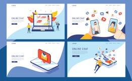 Le concept virtuel d'illustration de vecteur de relations, groupe de personnes causent sur des médias sociaux, les gens dactylogr illustration de vecteur