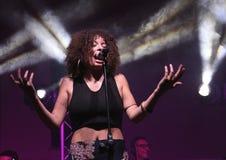 Le concert du chanteur de la musique d'âme Photographie stock libre de droits