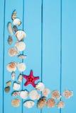 Le conchiglie incorniciano su fondo di legno blu Fotografie Stock Libere da Diritti