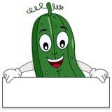 Le concombre tenant la bannière vont végétarien Photographie stock