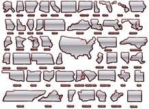 Le condizioni degli S.U.A. mappano l'insieme Fotografia Stock Libera da Diritti