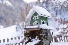 Le conducteur de l'oiseau en bois fait maison vert sur en hiver photos libres de droits