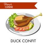 Le confit savoureux de canard de la cuisine française a isolé l'illustration illustration libre de droits