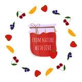 Le confiture-pot de fraise en fruits entourent, élément pour la conception Photographie stock libre de droits
